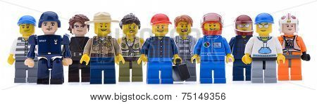 Ankara, Turkey  May 28, 2013:  Lego workers isolated on white background.