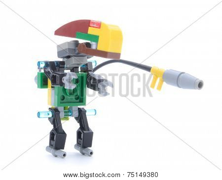 Ankara, Turkey  May 23, 2013:  Colorful Lego minifigure created with Lego blocks by a nine year old child isolated on white background.