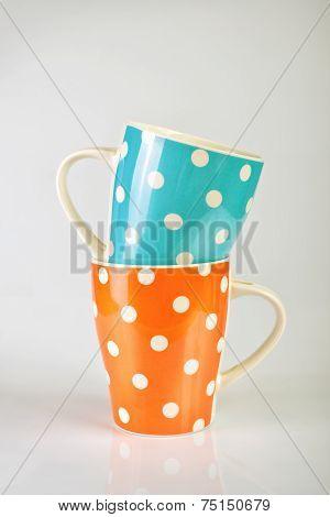 Empty Polka Dot Mugs