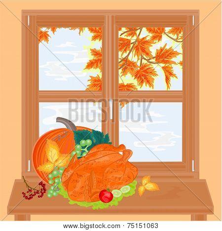 Autumn Window And Celebratory Food Vector
