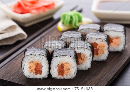 Sushi rolls with salmon teriyaki