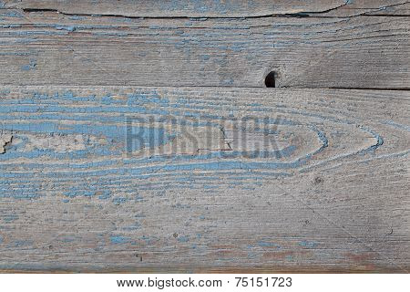 Texture Of The Old Board With Peeling Blue Paint Residues