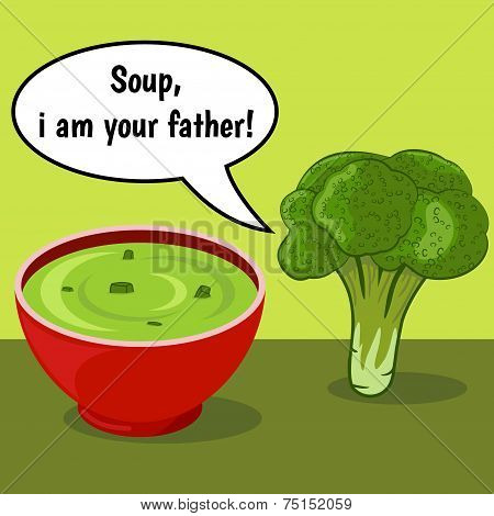 Funny Comic With Broccoli And Vegetable Soup