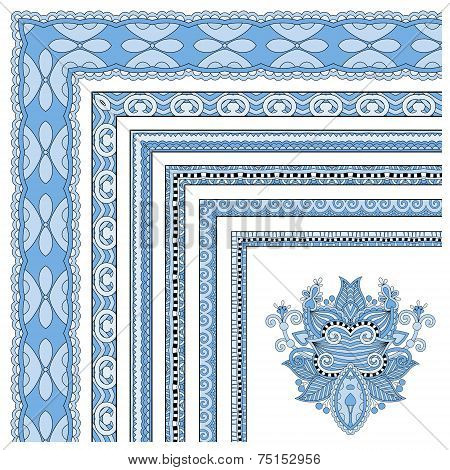 blue colour floral vintage frame design