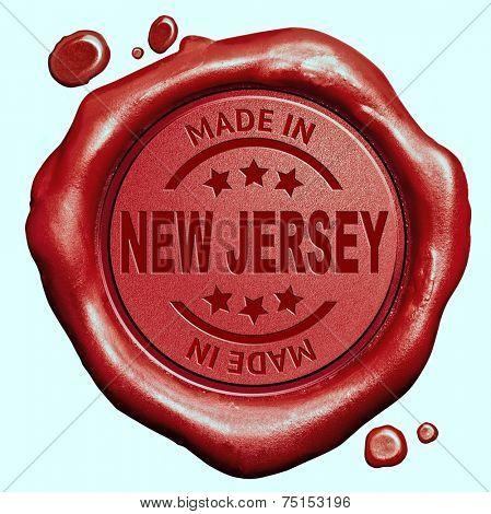 Made in New Jersey red wax seal or stamp, quality label