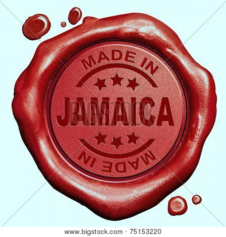 Made in Jamaica red wax seal or stamp, quality label