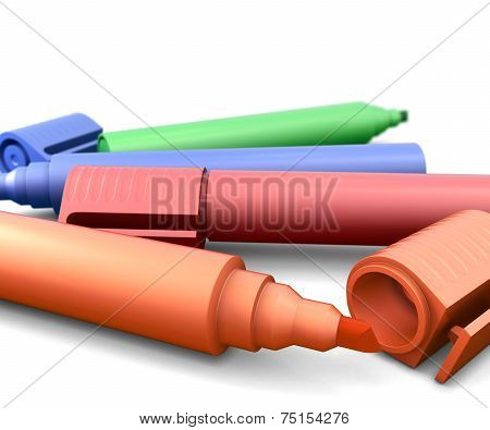 Colored Highlighters On A White Background