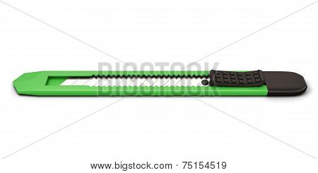 Green Stationery Knife Isolated On White Background