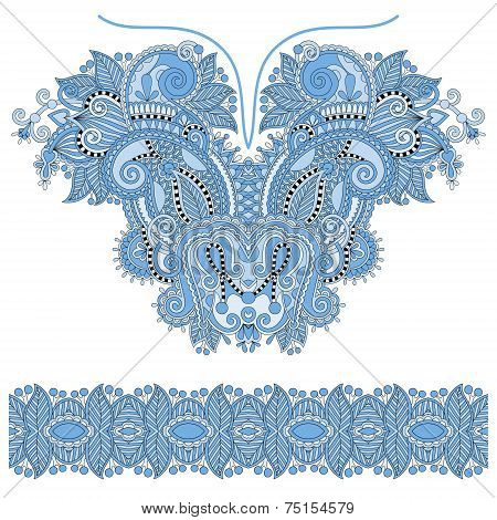 blue colour neckline ornate floral paisley embroidery fashion