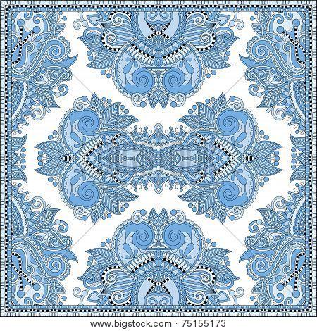 blue colour floral paisley bandanna. Square ornament