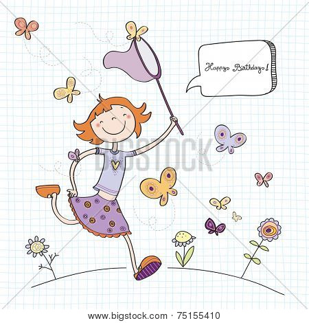 Vector happy birthday fun greeting card. Girl wit butterflies. Line art drawing, doodle, sketch.