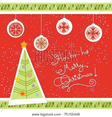 Vector merry christmas greeting card, christmas tree, globes.
