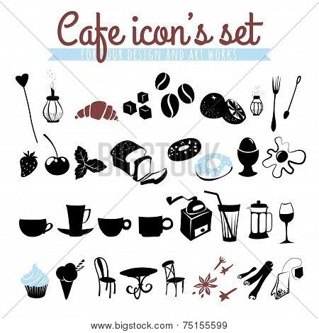 Set of icons coffee beans, latte, cappuccino, pies, doughnuts,