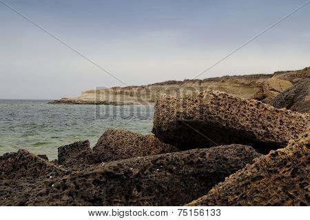 Stone Plates On Coast