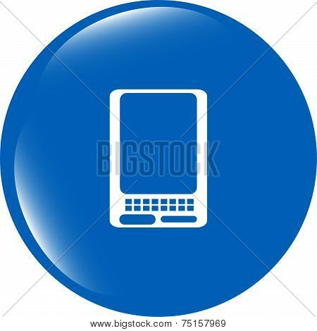Web Icon Button With Smart Phone Isolated On White Background