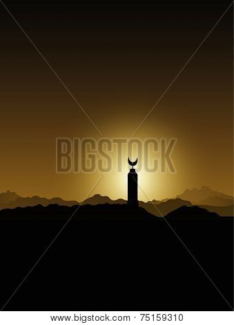Mosque minaret in the Sahara desert at sunset Bedouins Egypt