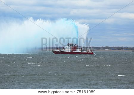 FDNY Fireboat sprays water into the air to celebrate the start of New York City Marathon 2014