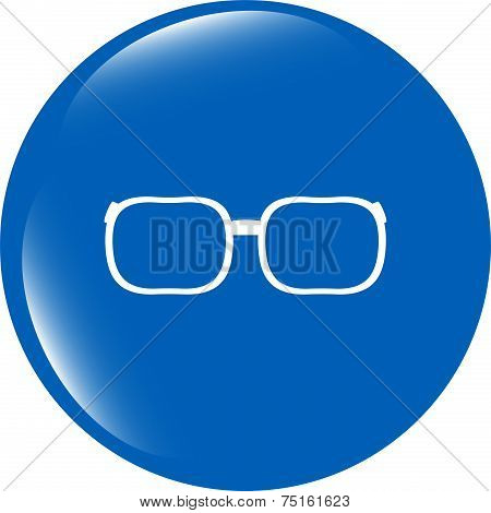 Glasses Sign Icon. Eyeglass Frame Symbol. Web Shiny Button
