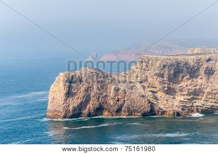 Cliff Shore Of Cape St Vincent In Portugal