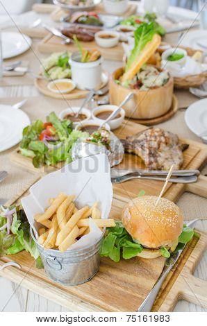 Lunch Set With Hamburger With Juicy Beef And Cheese