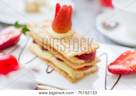 Mille Feuille, Puff Pastry Layered With Strawberries And Whipped Cream