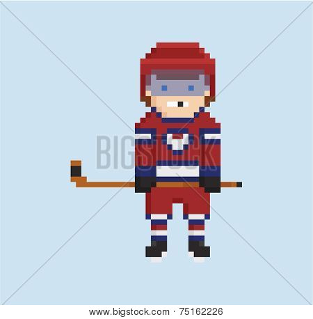 pixel art style illustration shows hockey player in red, white and blue uniform