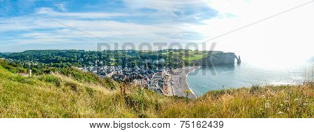 Panoramic View Of Etretat, French City