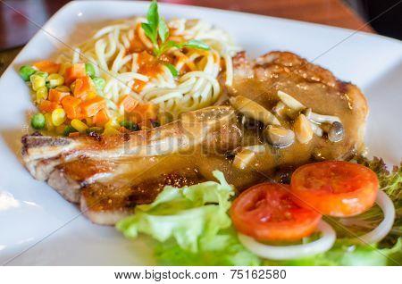 Grilled Pork Chop Steak Set