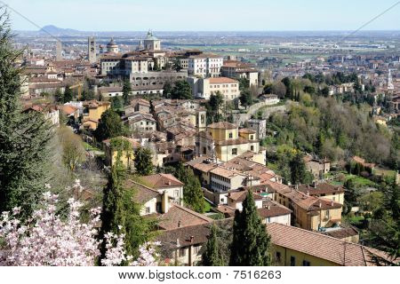 Bergamo, Citty Alta, Lombardy, Italy, On A Sunny Spring Afternoon