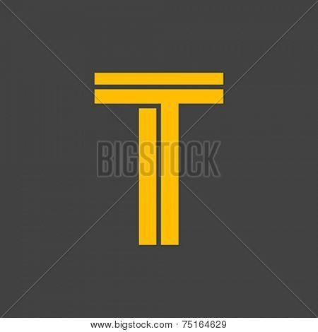 Letter T vector alphabet impossible shape.  ABC concept type as logo. Typography design