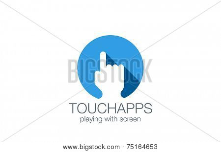 Finger Touch Screen applications technology logo design vector template. Hand pressing button logotype concept long shadow icon.
