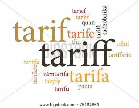 Term Of Tariff In Multi Languages Of Word Clouds.