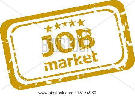Words Job Market On Rubber Stamp Isolated On White
