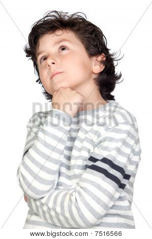 Pensive Child With Striped Sweater