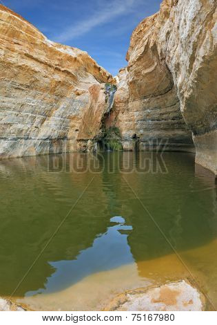 Unique canyon En-Avdat in the Negev desert. Sandstone canyon walls form round bowl. Bowl waterfall reflects the sky