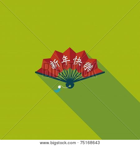 Chinese New Year Flat Icon With Long Shadow,eps10, Folding Fan With Chinese Blessing Words