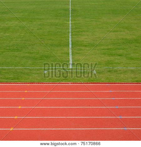 Running Track And Soccer Field In Sport Arena