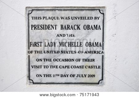 Cape Coast Castle Obama Plaque, Ghana