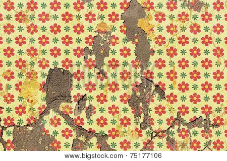 An Old Grunge Wall with Flower Wallpaper Pattern. - A manipulated photograph with some illustration elements.