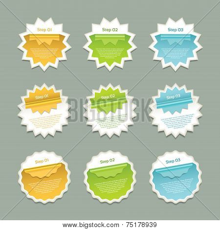 Vector stickers with bent rim in yellow, green and blue color. eps 10