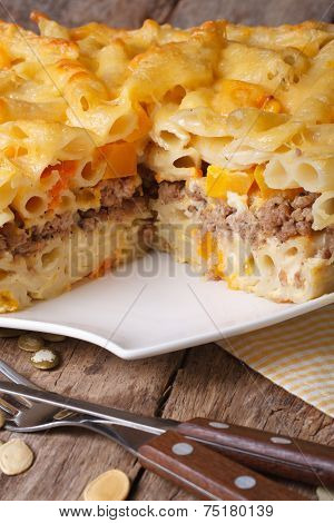 Tasty Casserole: Baked Penne Pasta With Meat And Pumpkin