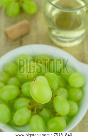 Green Grapes and Wine Glass