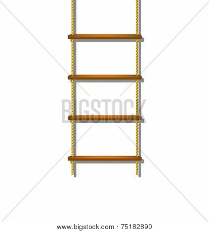 Wooden rope ladder with shadow