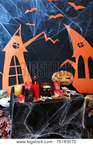 Halloween scenery on black background