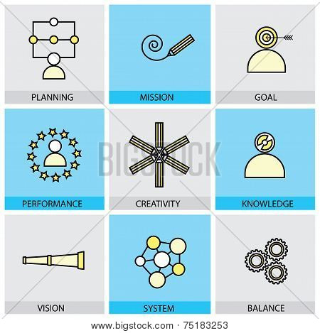 Flat Design Set Of Vector Line Icons Of Planning Mission Goal Target