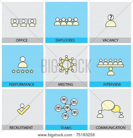Office People Vector Line Flat Design Icons - Appraisal, Recruitment, Interviews