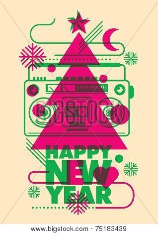 Modish New Year poster design. Vector illustration.