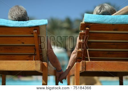 Back view of Elderly couple