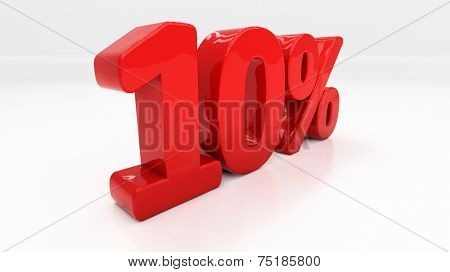 Ten percent off. Discount 10. 3D illustration