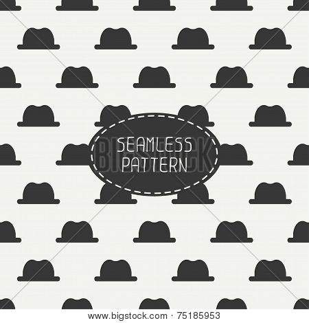 Vector seamless retro pattern, with  vintage hipster gentleman hat. For wallpaper, pattern fills, we